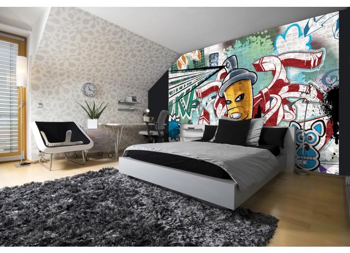 Fotobehang Graffiti | Groen, Blauw | 208x146cm