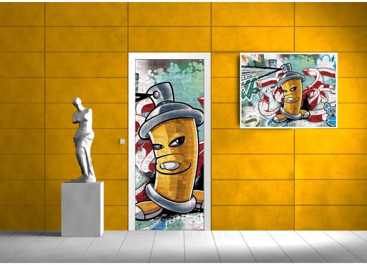 Deursticker Muursticker Graffiti | Geel | 91x211cm