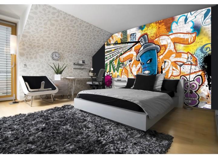 Fotobehang Vlies   Graffiti   Oranje, Blauw   368x254cm (bxh)