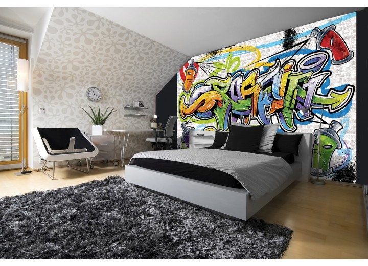 Fotobehang Papier Graffiti, Street art | Geel | 368x254cm