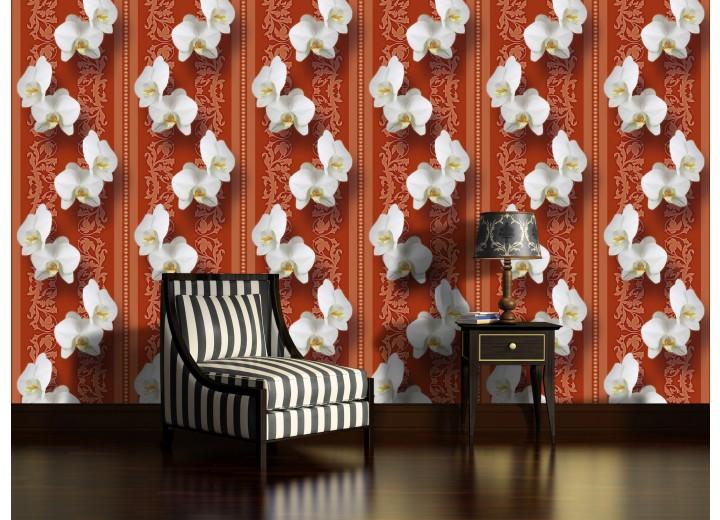 Fotobehang Bloemen, Orchidee | Oranje | 208x146cm