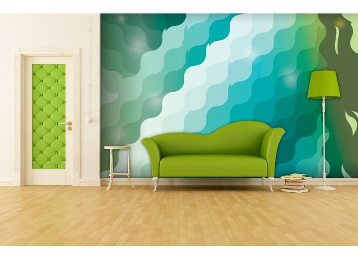 Fotobehang Papier Abstract | Groen, Blauw | 254x184cm