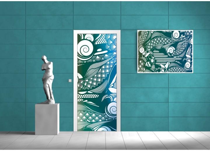 Deursticker Muursticker Modern | Blauw, Groen | 91x211cm