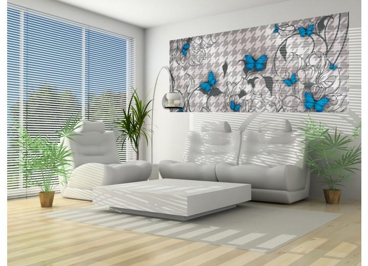 Fotobehang Bloemen, Vlinder | Blauw, Grijs | 250x104cm