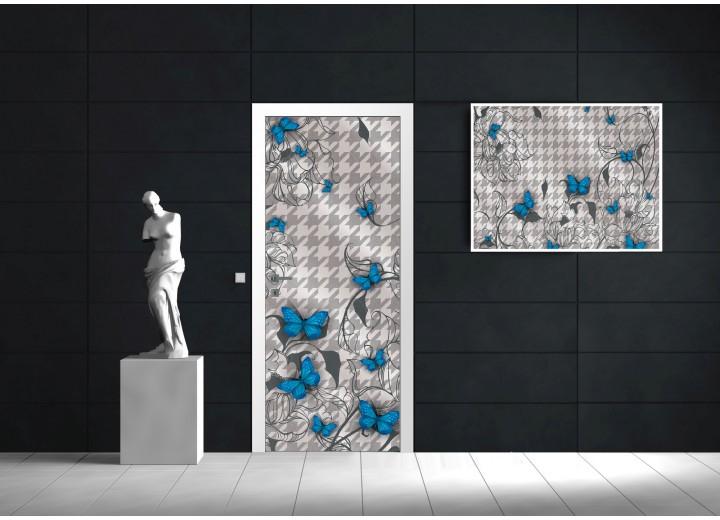 Deursticker Muursticker Modern | Blauw, Grijs | 91x211cm