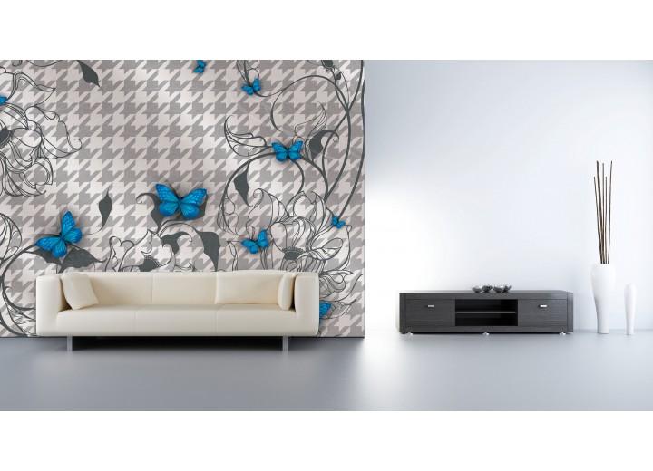Fotobehang Vlies | Bloemen, Vlinder | Blauw, Grijs | 368x254cm (bxh)