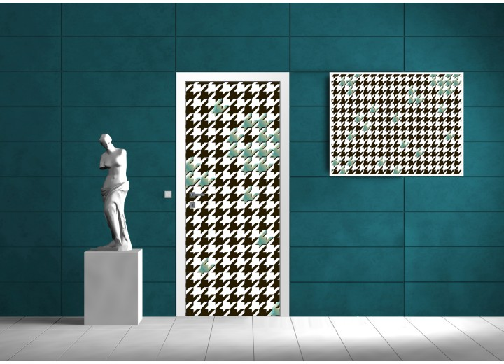Deursticker Muursticker Modern | Zwart, Groen | 91x211cm