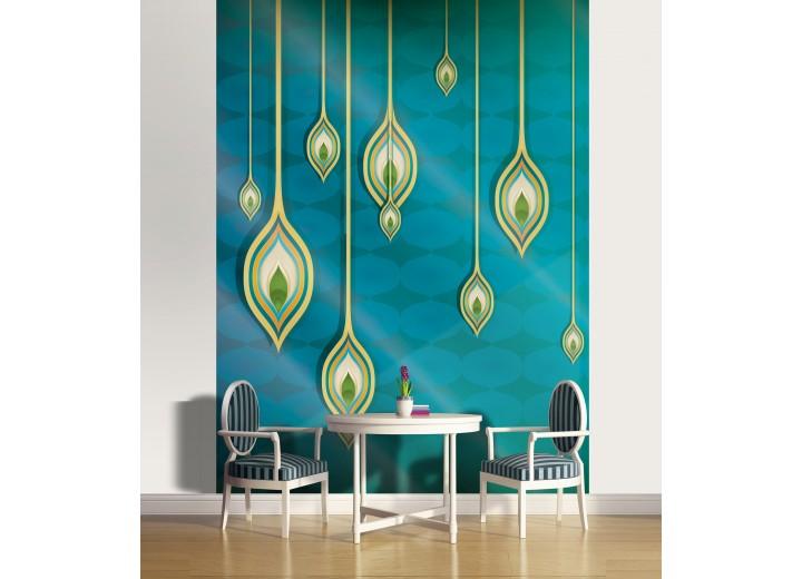 Fotobehang Papier Modern | Turquoise, Geel | 184x254cm