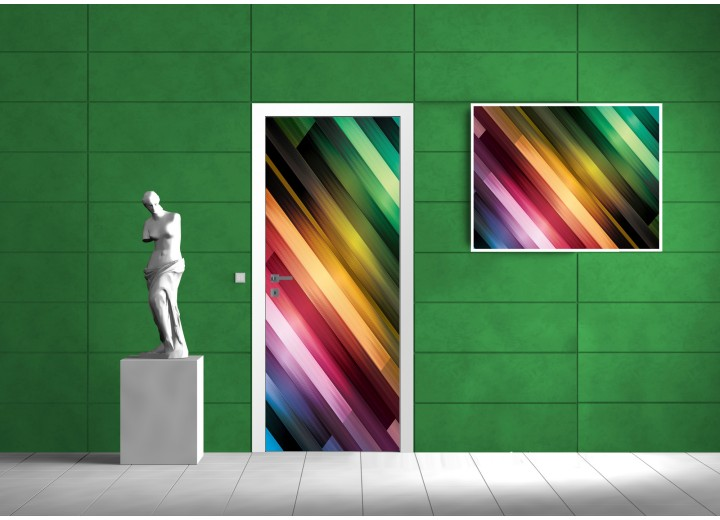 Deursticker Muursticker Modern, Strepen   Paars, Groen   91x211cm
