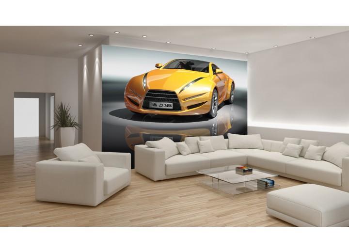 Fotobehang Papier Auto | Geel, Grijs | 254x184cm