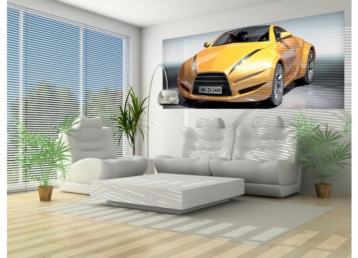 Fotobehang Auto   Geel, Grijs   250x104cm
