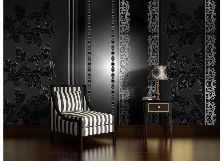 Fotobehang Bloemen | Zwart, Grijs | 104x70,5cm