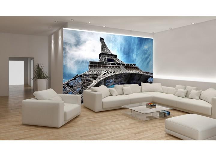 Fotobehang Eiffeltoren | Grijs, Blauw | 152,5x104cm