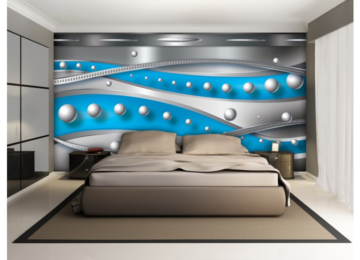 Fotobehang Vlies | Abstract, Modern | Zilver, Blauw | 368x254cm (bxh)