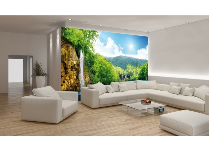 Fotobehang Vlies | Natuur, Waterval | Groen, Blauw | 368x254cm (bxh)