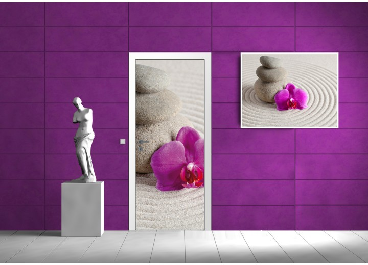 Deursticker Muursticker Stenen, Zen | Paars | 91x211cm