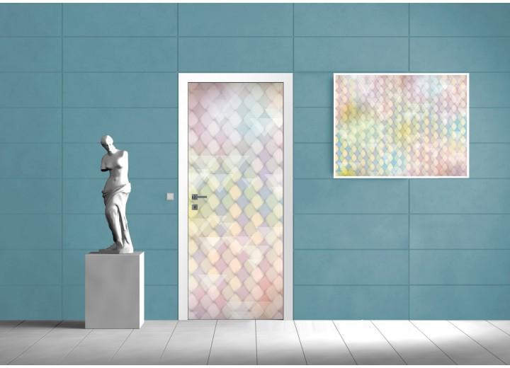 Deursticker Muursticker Modern | Groen, Geel | 91x211cm