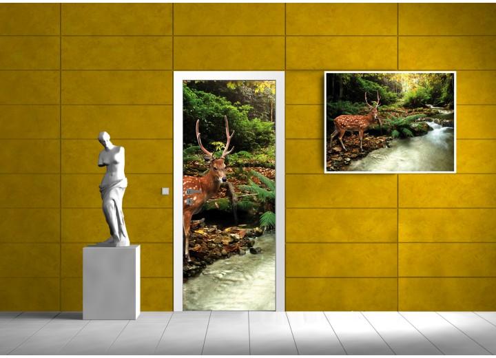 Deursticker Muursticker Natuur, Hert | Groen | 91x211cm