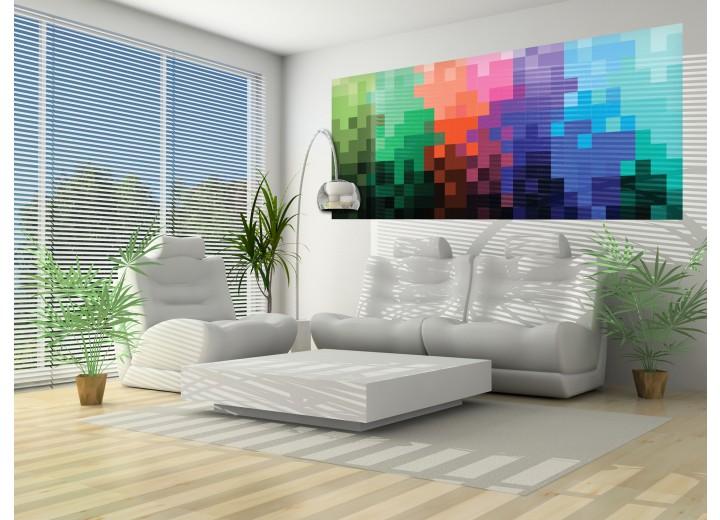 Fotobehang Abstract | Zwart, Blauw | 250x104cm
