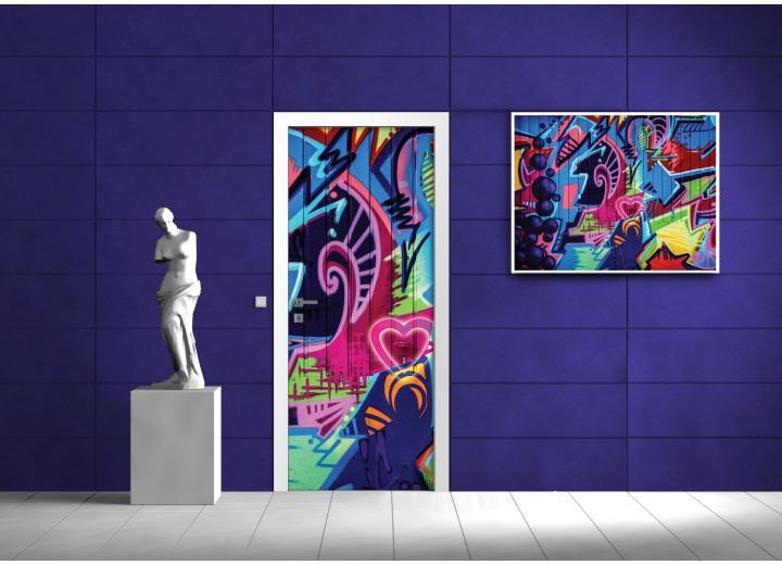 Fotobehang Graffiti | Roze | 91x211cm
