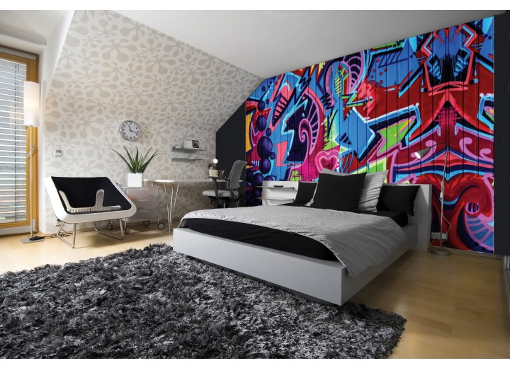 Fotobehang Vlies | Graffiti | Blauw, Rood | 368x254cm (bxh)