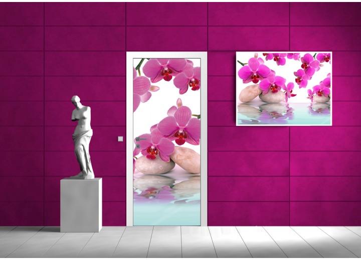 Deursticker Muursticker Orchidee, Bloemen | Roze, Paars | 91x211cm
