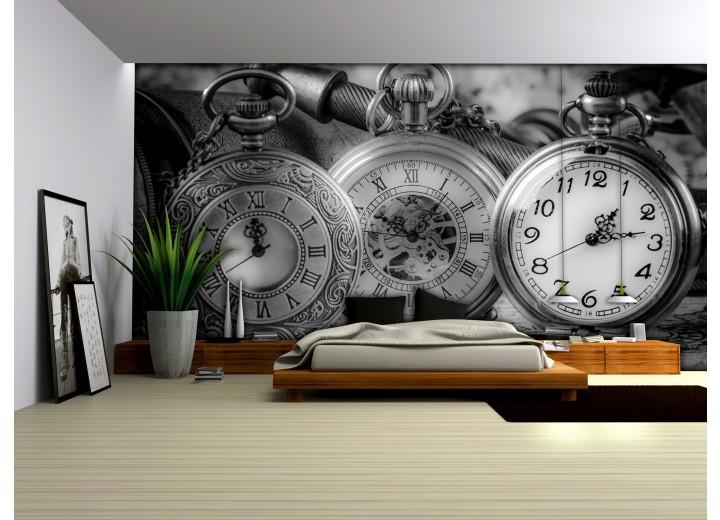 Fotobehang Papier Klok, Keuken | Grijs | 254x184cm