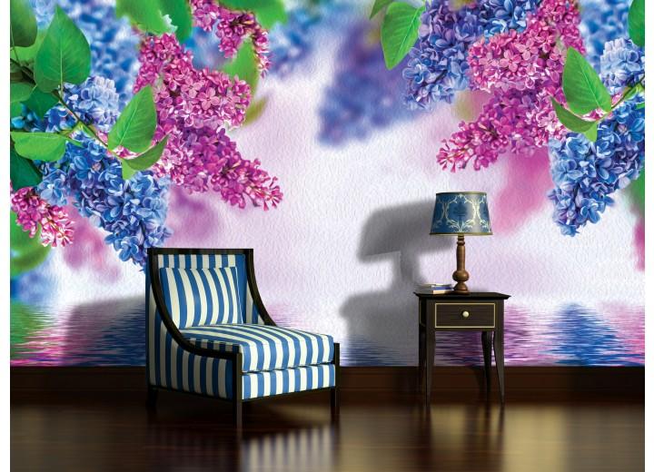 Fotobehang Papier Bloemen | Paars, Blauw | 254x184cm