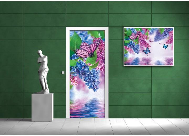 Deursticker Muursticker Bloemen | Blauw, Roze | 91x211cm