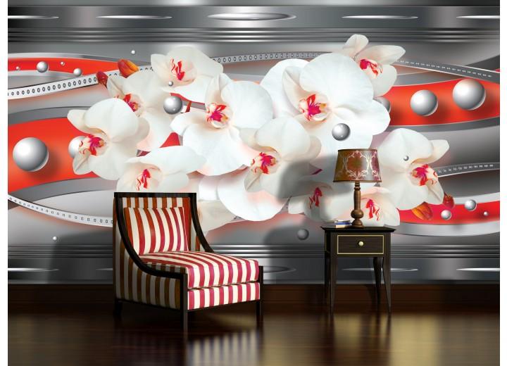 Fotobehang Papier Bloemen, Orchideeën | Zilver | 368x254cm