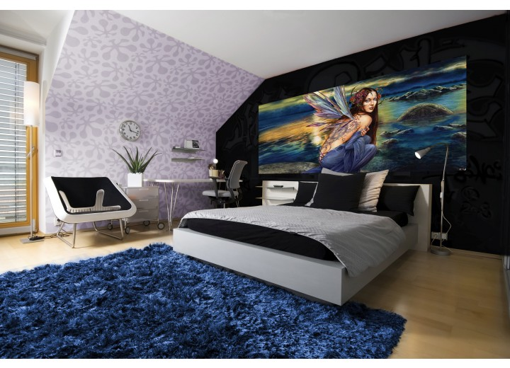 Fotobehang Alchemy Gothic, Vrouw | Blauw | 250x104cm