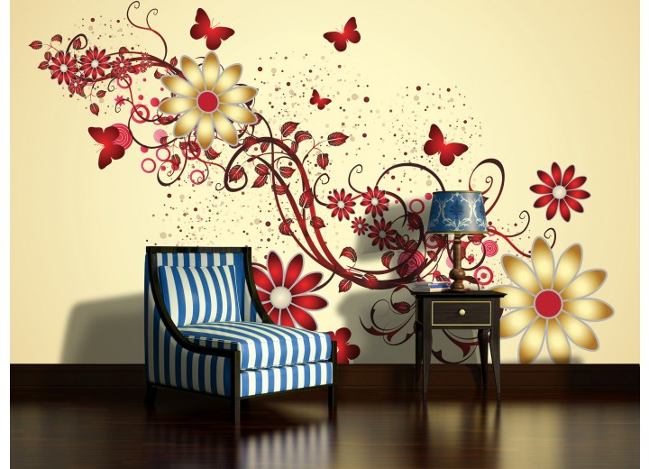 Fotobehang Papier Bloemen | Geel, Rood | 368x254cm