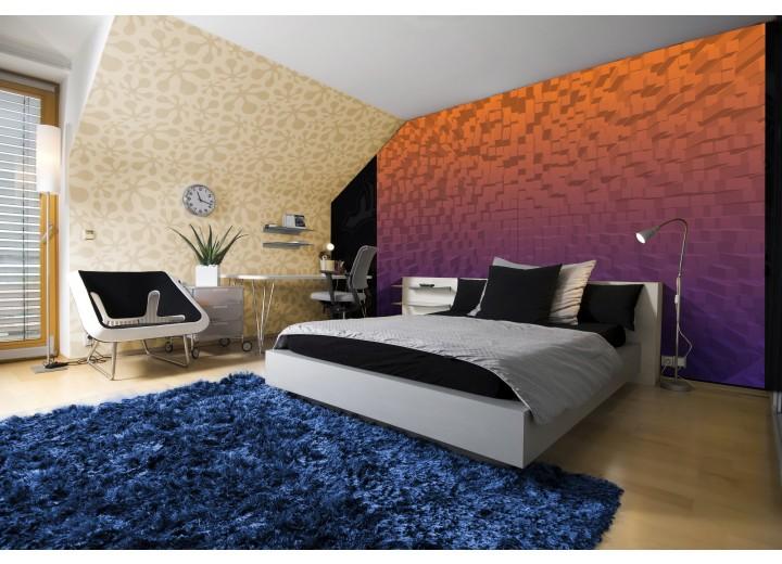 Fotobehang Papier 3D | Oranje, Paars | 254x184cm