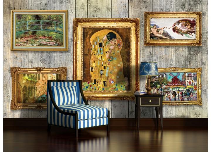 Fotobehang Hout, Schilderijen | Geel | 312x219cm