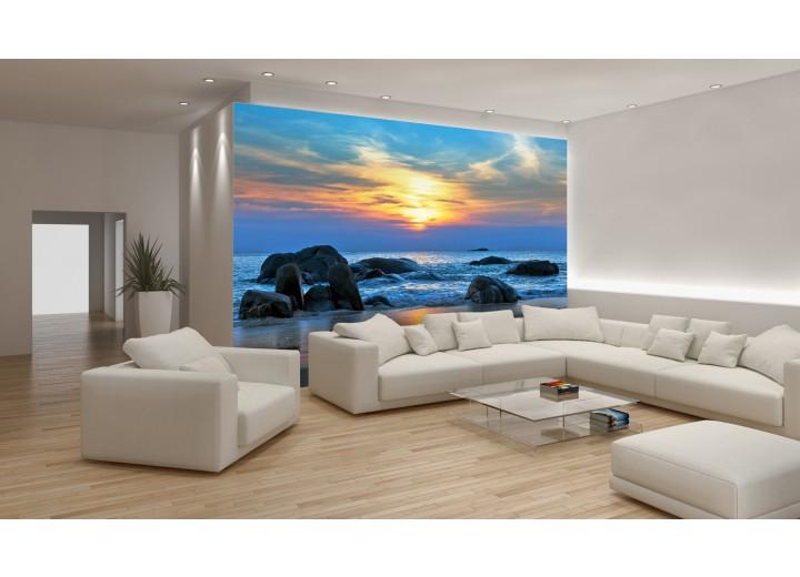 Fotobehang Zee | Blauw, Geel | 312x219cm