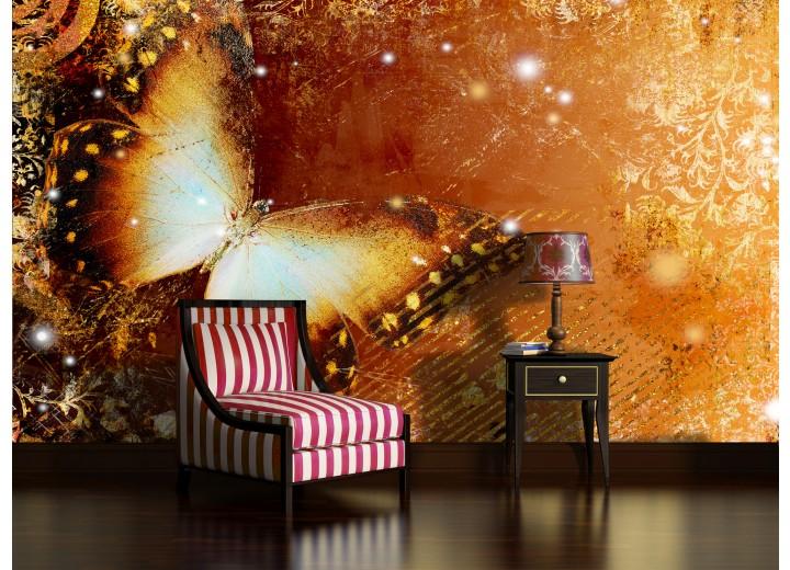 Fotobehang Vlinder | Goud | 152,5x104cm