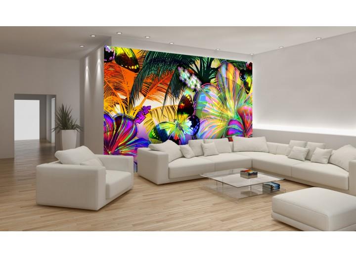 Fotobehang Vlinder, Bloemen | Geel | 104x70,5cm