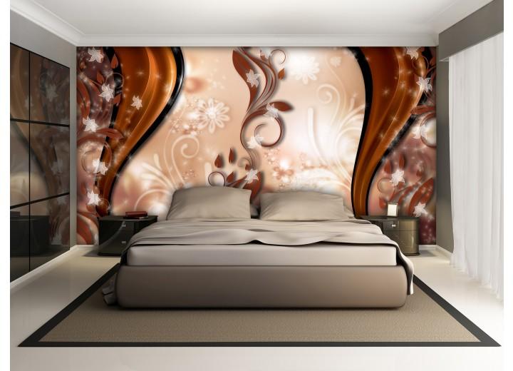 Fotobehang Abstract, Bloem | Bruin | 312x219cm