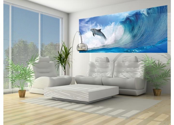 Fotobehang Dolfijnen | Blauw | 250x104cm