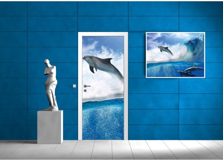 Deursticker Muursticker Dolfijn | Blauw | 91x211cm