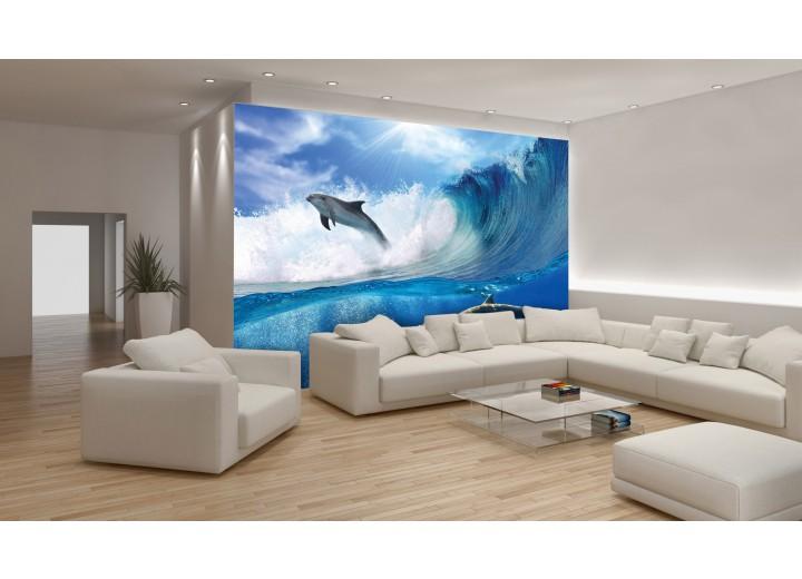 Fotobehang Vlies | Dolfijnen | Blauw | 368x254cm (bxh)