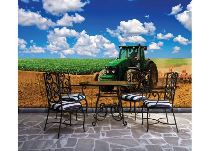 Fotobehang Vlies | Natuur, Tractor | Blauw | 368x254cm (bxh)