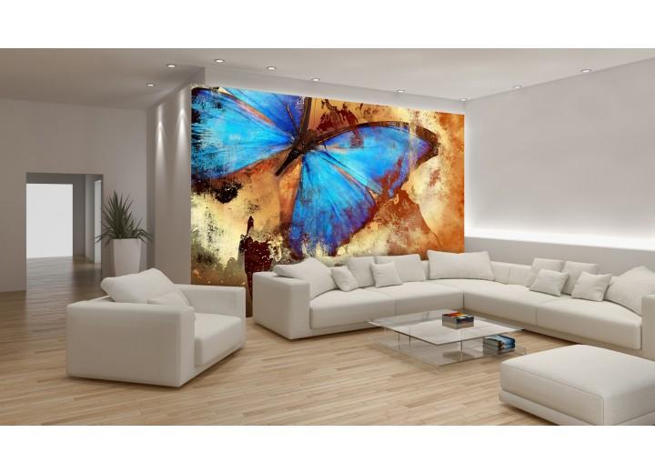 Fotobehang Vlies | Vlinder, Abstract | Blauw | 368x254cm (bxh)