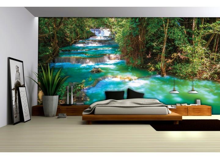 Fotobehang Natuur | Groen, Blauw | 104x70,5cm