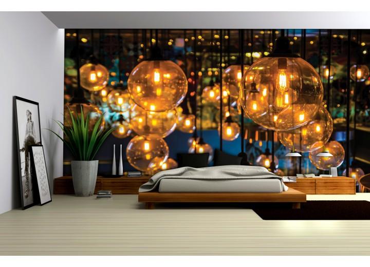 Fotobehang Lampen | Geel, Bruin | 208x146cm