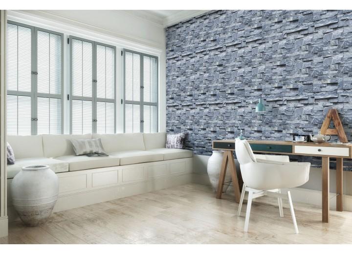 Fotobehang Vlies | Muur, Stenen | Blauw | 368x254cm (bxh)