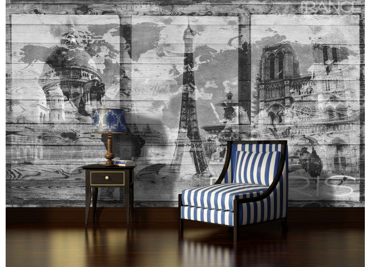 Fotobehang Vlies   Hout, Parijs   Grijs   368x254cm (bxh)