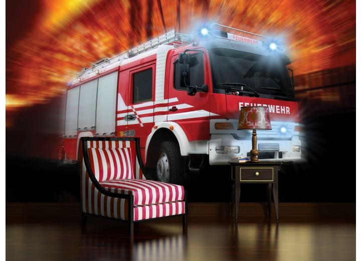 Fotobehang Vlies | Brandweerauto | Rood, Oranje | 368x254cm (bxh)