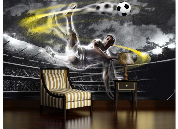 Fotobehang Voetbal | Grijs, Geel | 104x70,5cm