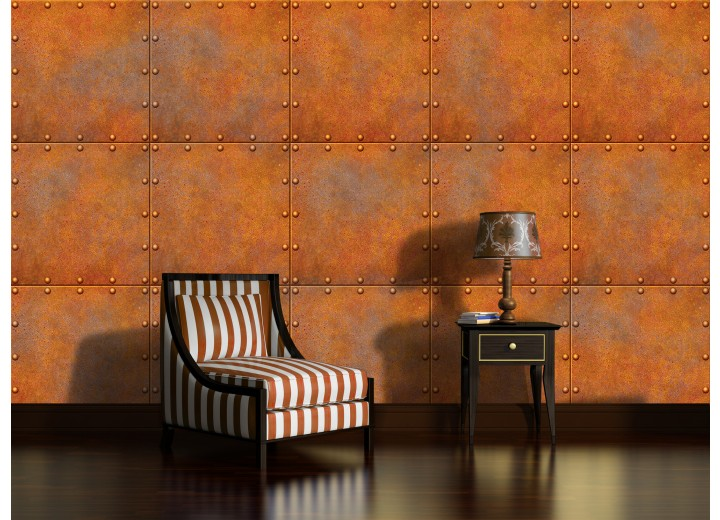 Fotobehang Vlies | Metaallook | Bruin, Oranje | 368x254cm (bxh)